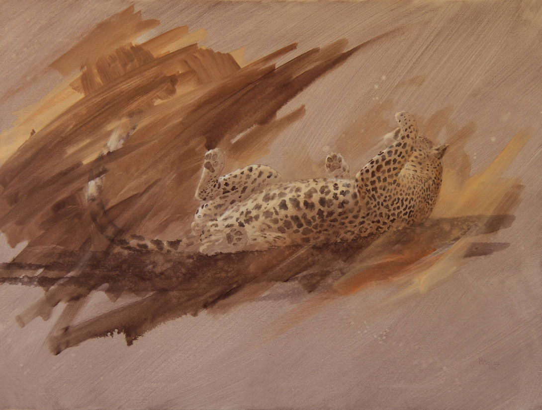 Leopard-'-Playful-Chui-'---Leopard--Sepia-Oil-Painting-by-Mike-Ghaui--Size