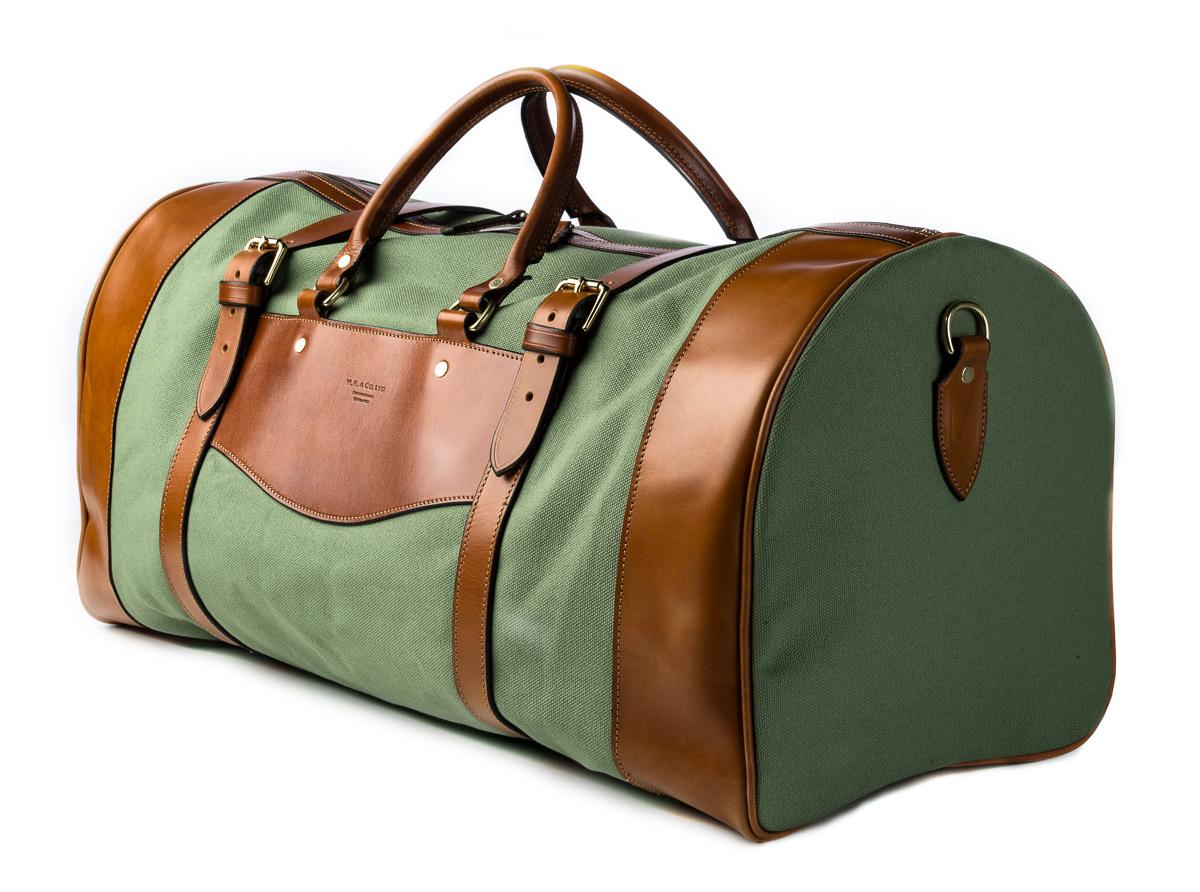Westley Richards Green canvas & leather safari bag