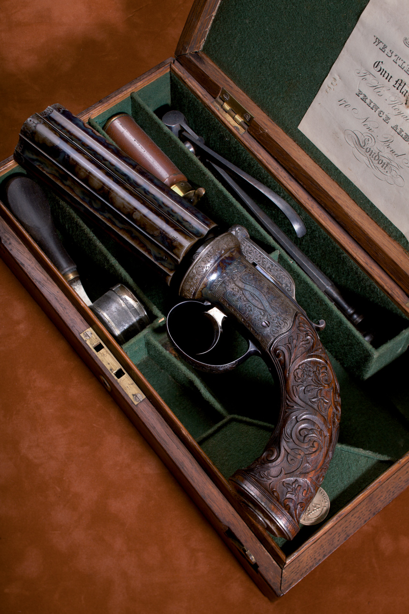 An Exhibition Westley Richards 5 Shot 55 bore Percussion Pepperbox Pistol.