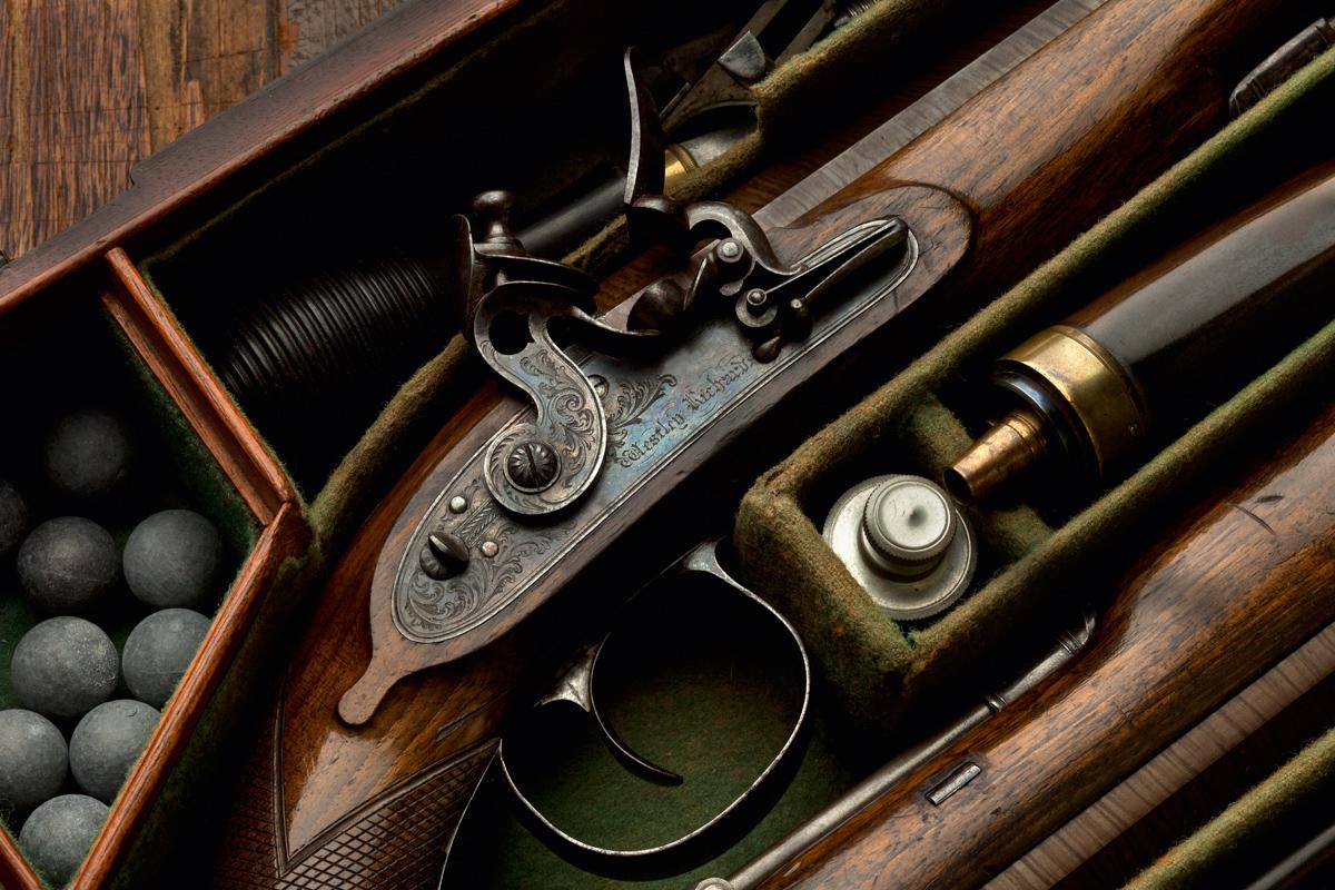 A Cased 16g Westley Richards Flintlock Pistol.