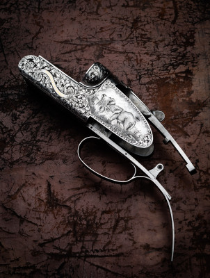 WESTLEY RICHARDS .577 DROPLOCK. Engraving by PETER SPODE.