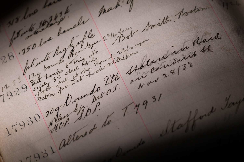 journal, gun books, gun records, westley richards serial numbers