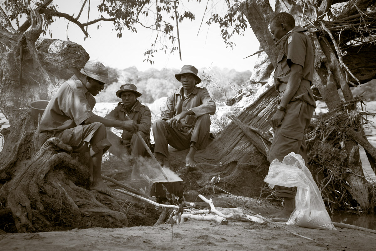 Trackers and staff on Safari