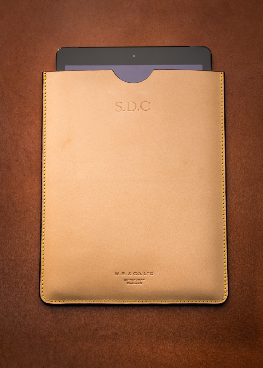 Westley Richards iPad case in natural leather.