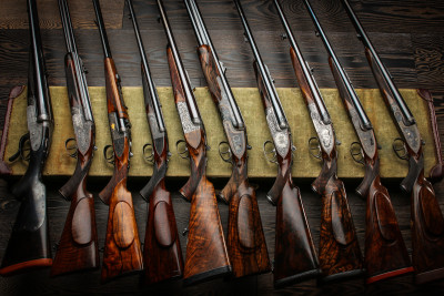 Some double rifles from the Westley Richards collection.