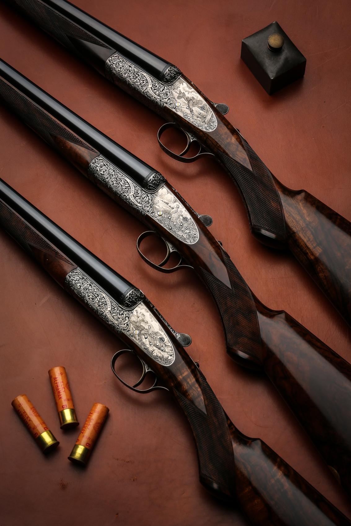 A set of 3 Westley Richards sidelock 20g shotguns.