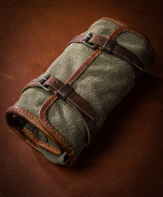 A Swiss Army Tool Roll on the way to becoming a Safari Tool Roll.