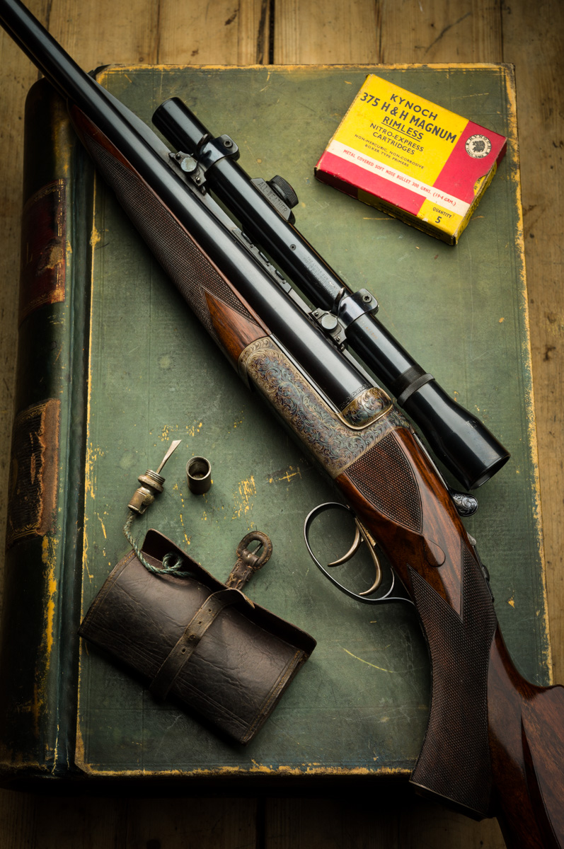 Westley Richards .375 H&H droplock rifle with telescope