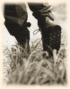 Courteney Boots in the bush.