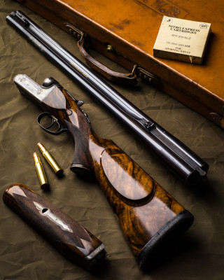 A Westley Richards Gold Name Droplock Double Rifle in .577/.500 No.2 Nitro Express.