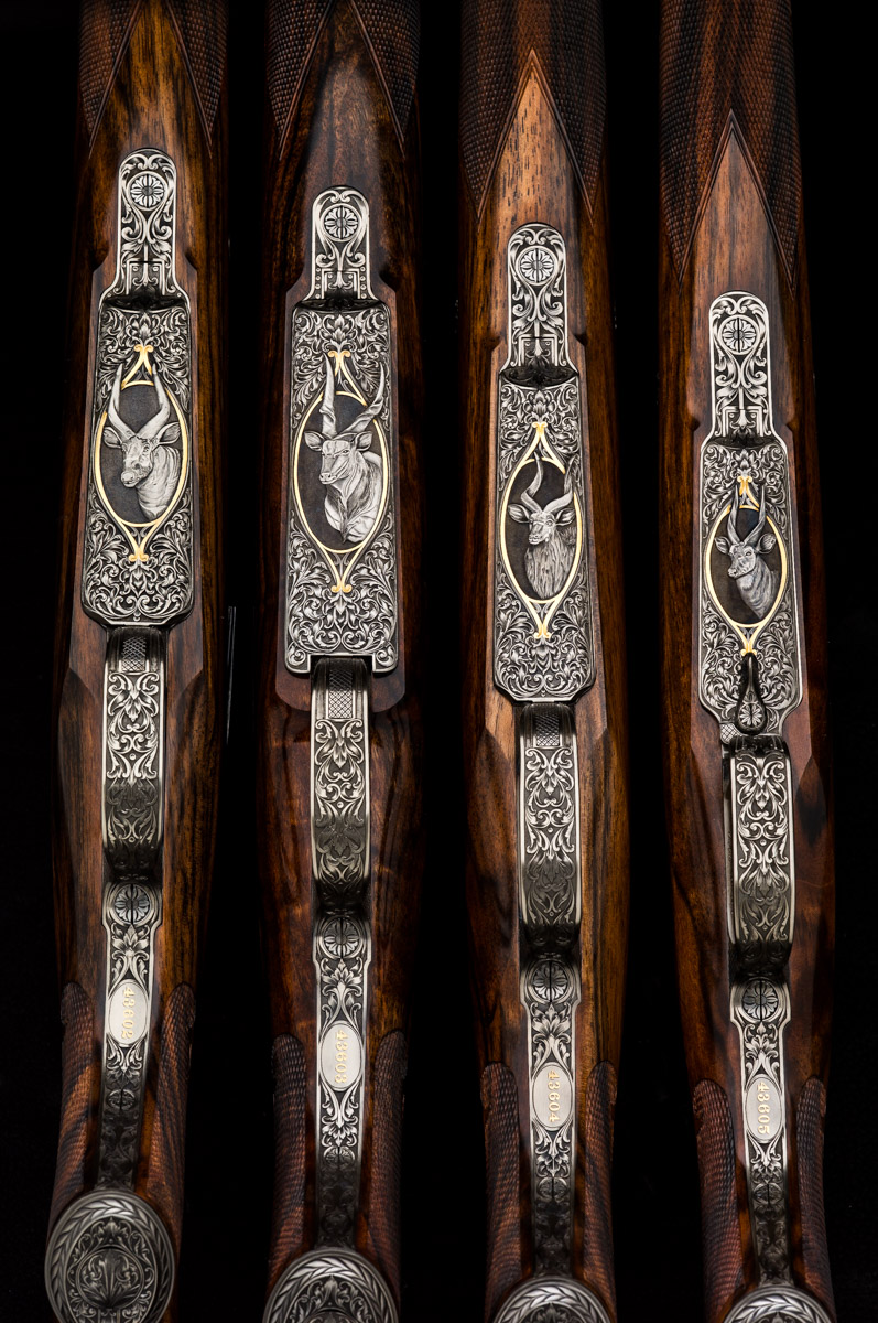 matched set of four Mauser action rifles by Westley Richards
