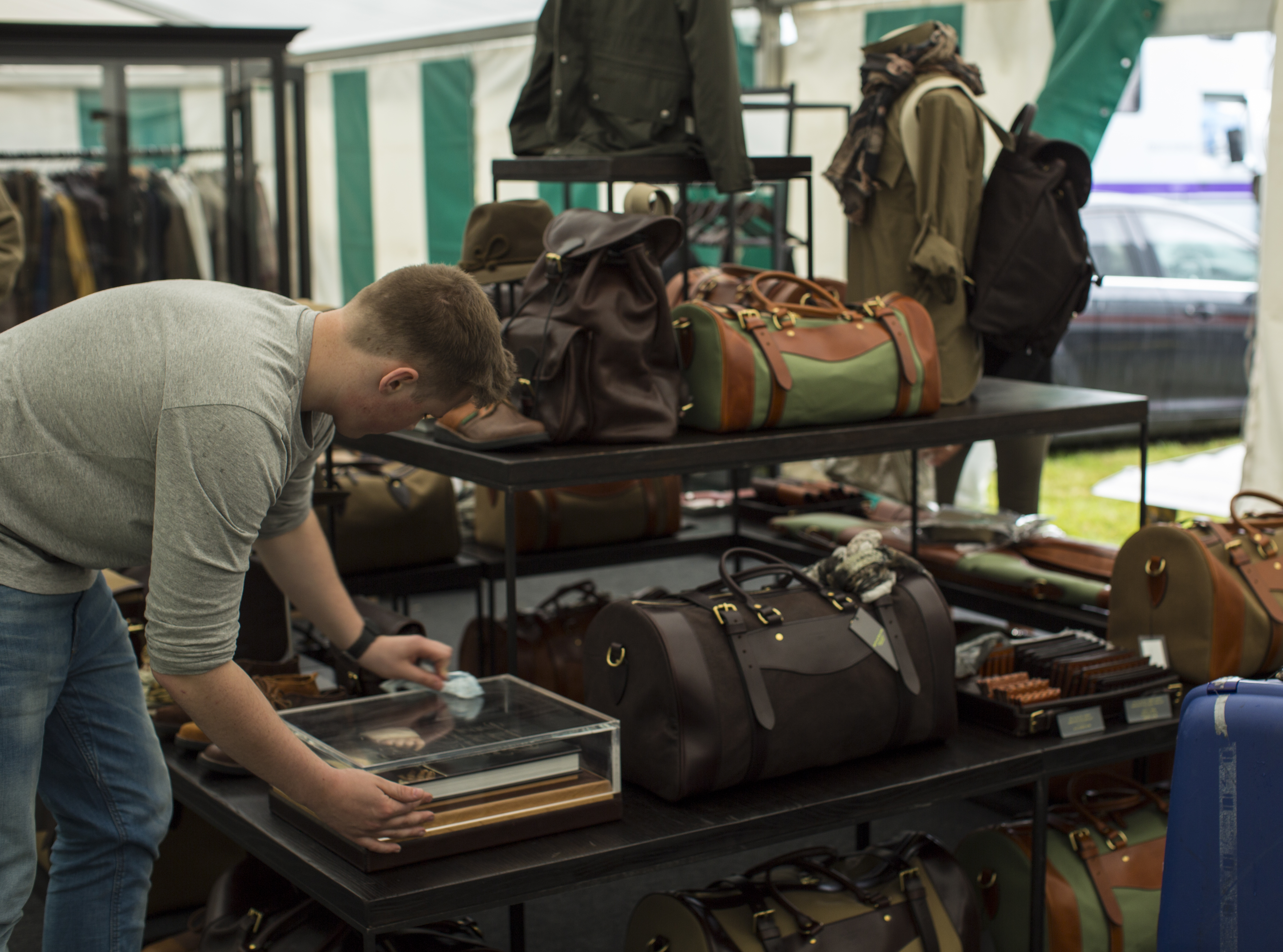 Setting up WR stand at CLA Game Fair