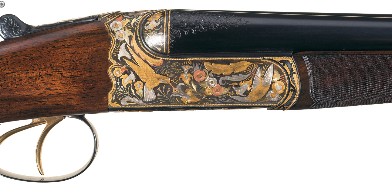The Re engraved Westley Richards .410 in style of Hummingbird gun.