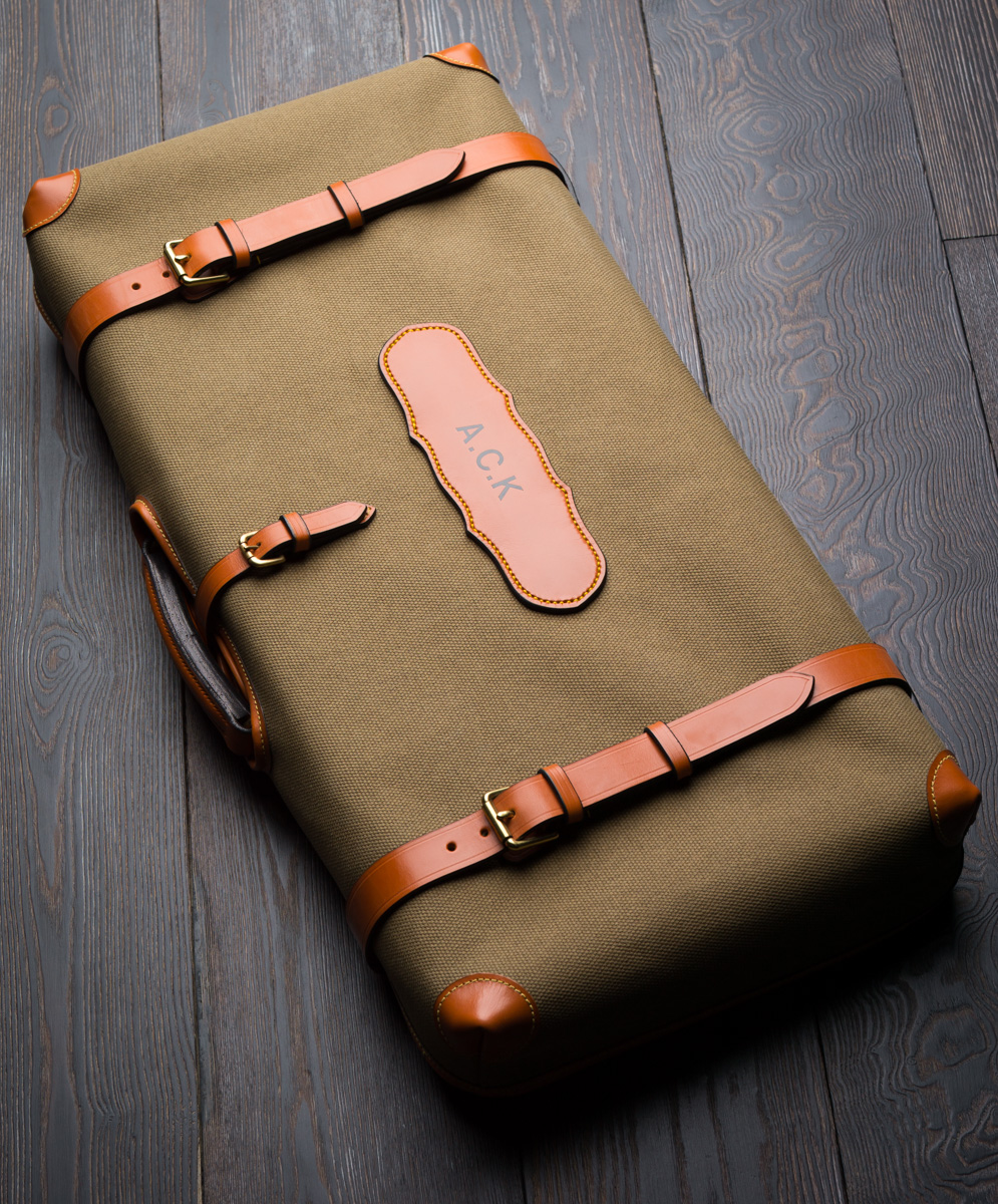 The outer canvas cover for a best leather case by Westley Richards.