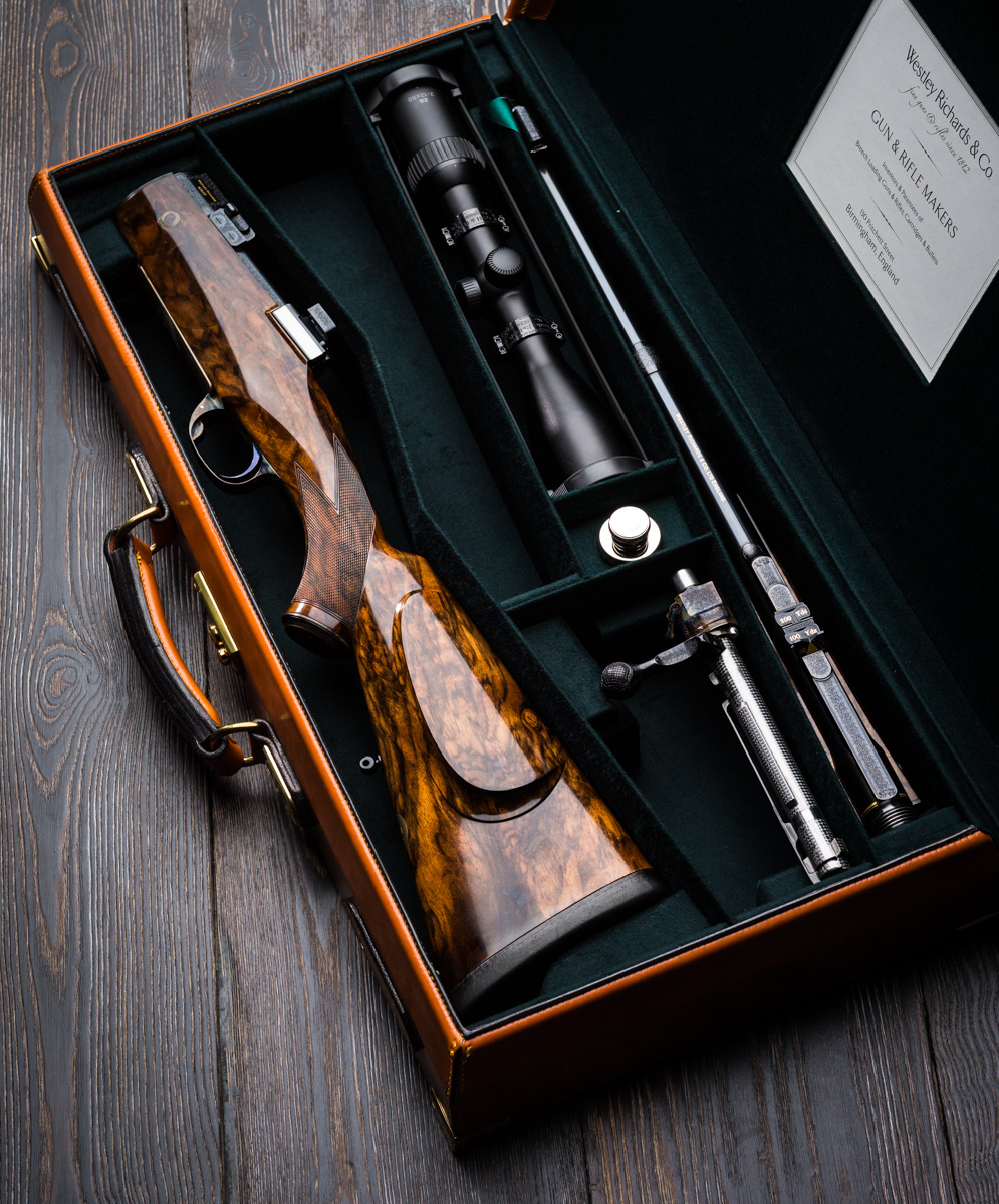 The inside of a Westley Richards  Take Down case