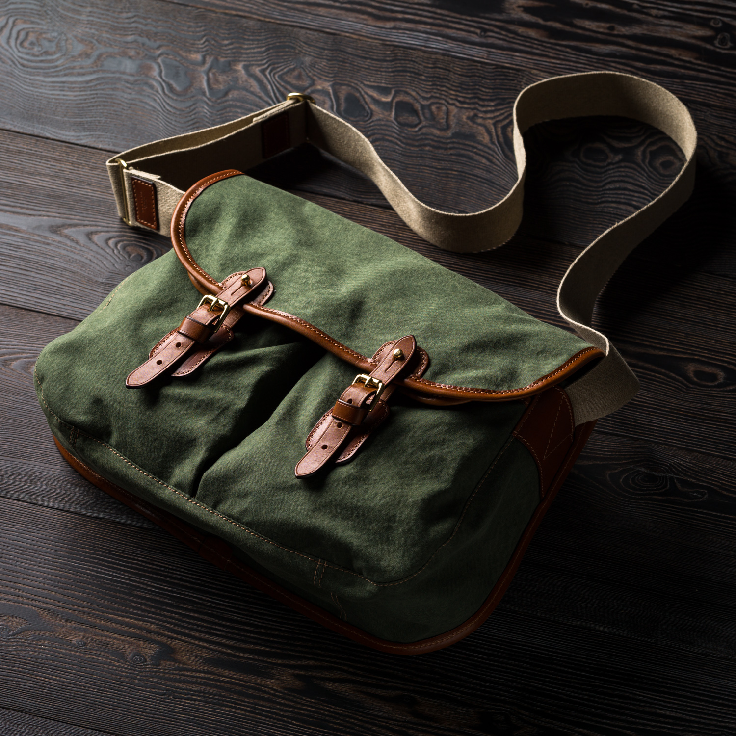 Westley Richards Bishop Bag Canvas & Leather Green Canvas and Leather