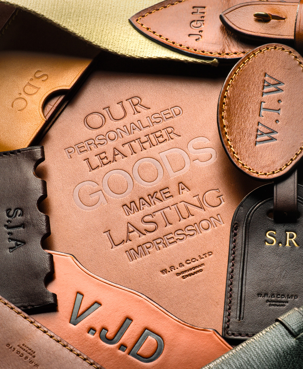 Leather Initials on leather goods at Westley Richards.