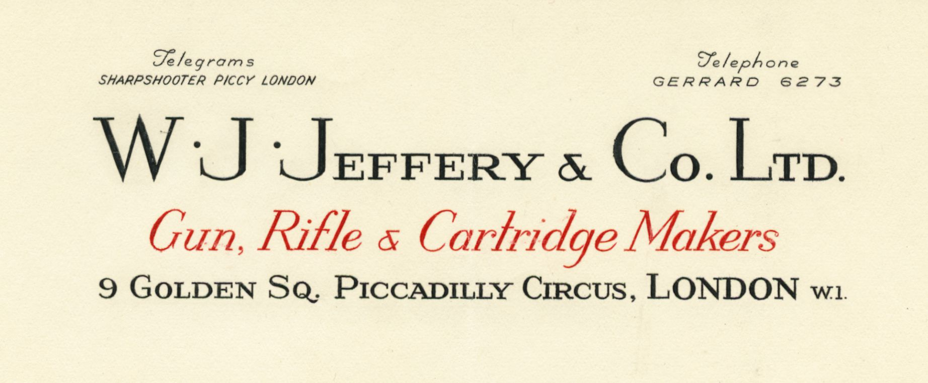 W J Jeffery letterhead