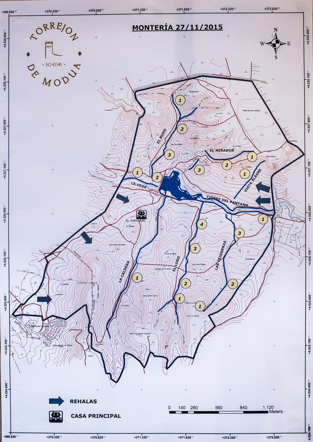 The map of the estate showing the lines of shooting posts.
