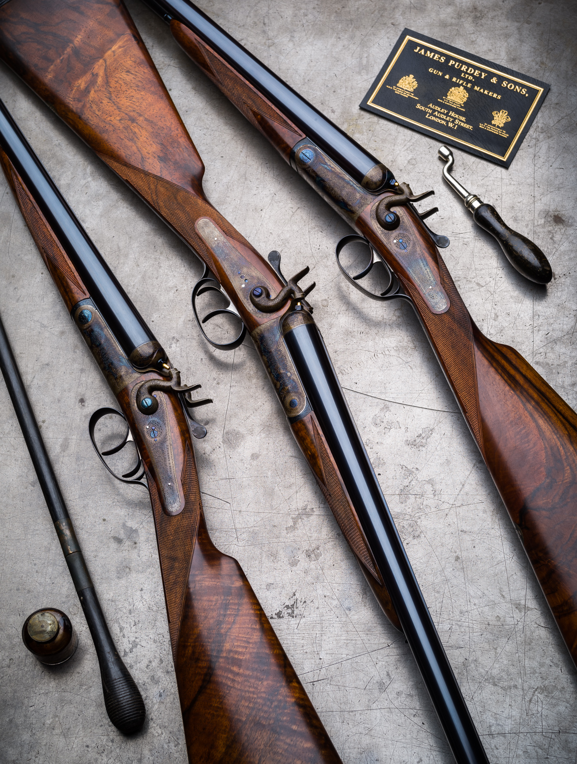 The Story of A Set of 3 James Purdey & Sons Hammer Ejector 12g Game Guns.