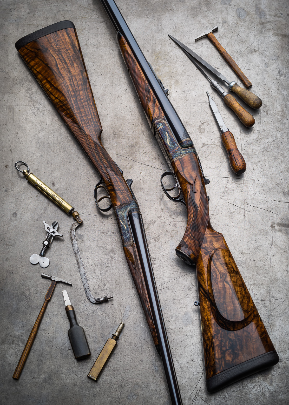 "500 3"" Double Rifle and 28g Shotgun, both Detachable Lock."