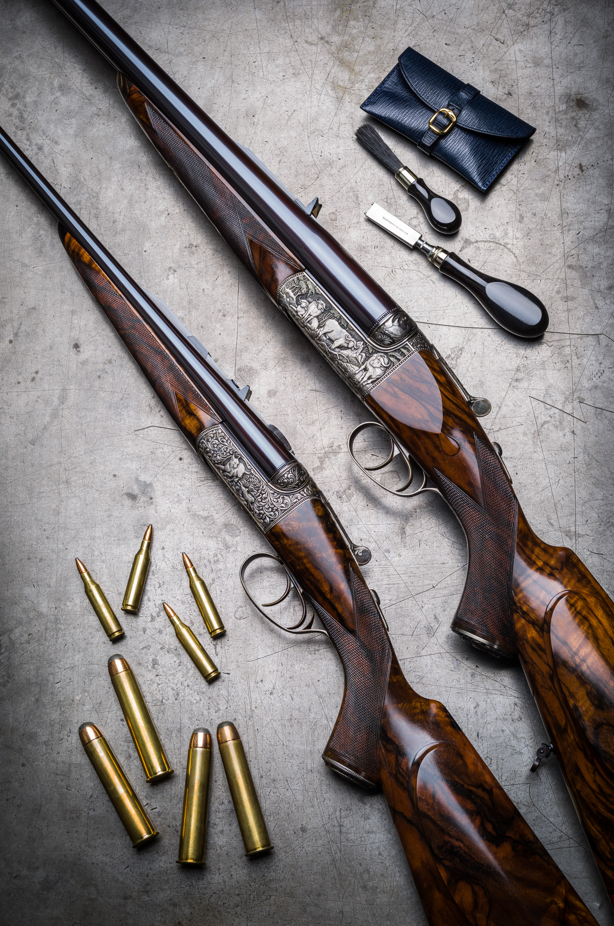 Little and Large. 2 Westley Richards Carved Double Rifles in .600NE and .243.