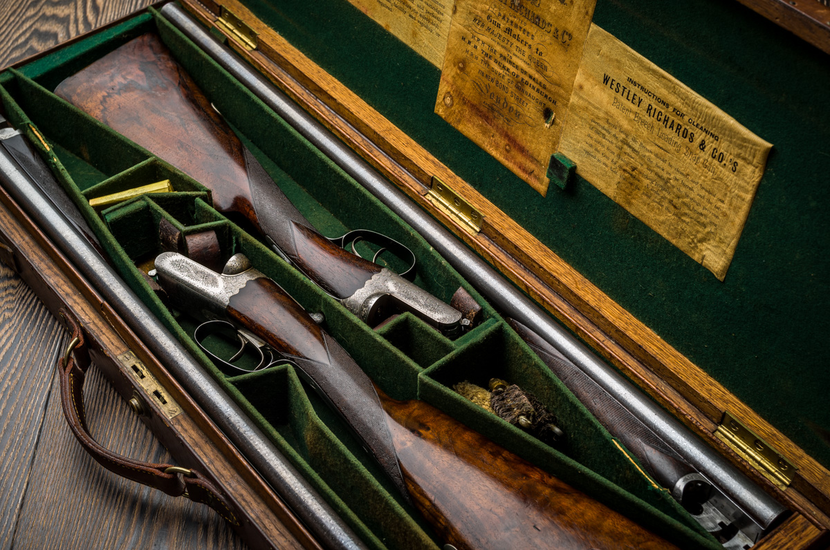 "Pair of Westley Richards Droplock 12g 30"" Damascus"
