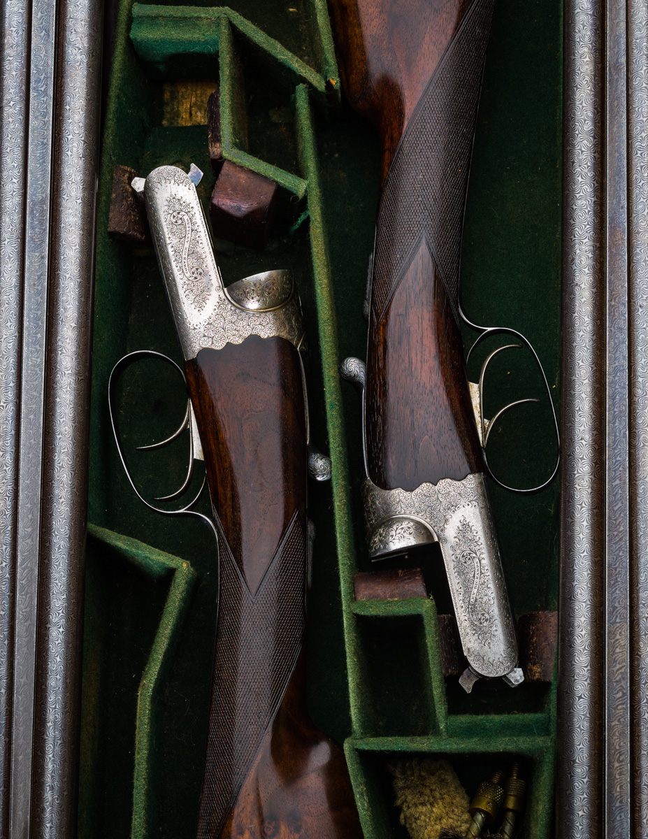 "A Pair of 12g 30"" Damascus Game Guns Sir?  A 'Project' Pair of Westley Richards 12g Droplock's Arrive at the workshops ."