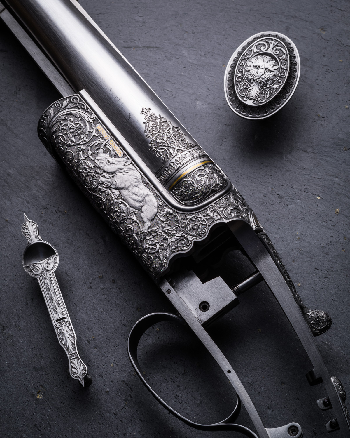 A Westley Richards .470 Hand Detachable Lock Double Rifle. Engraved by Paul Lantuch.
