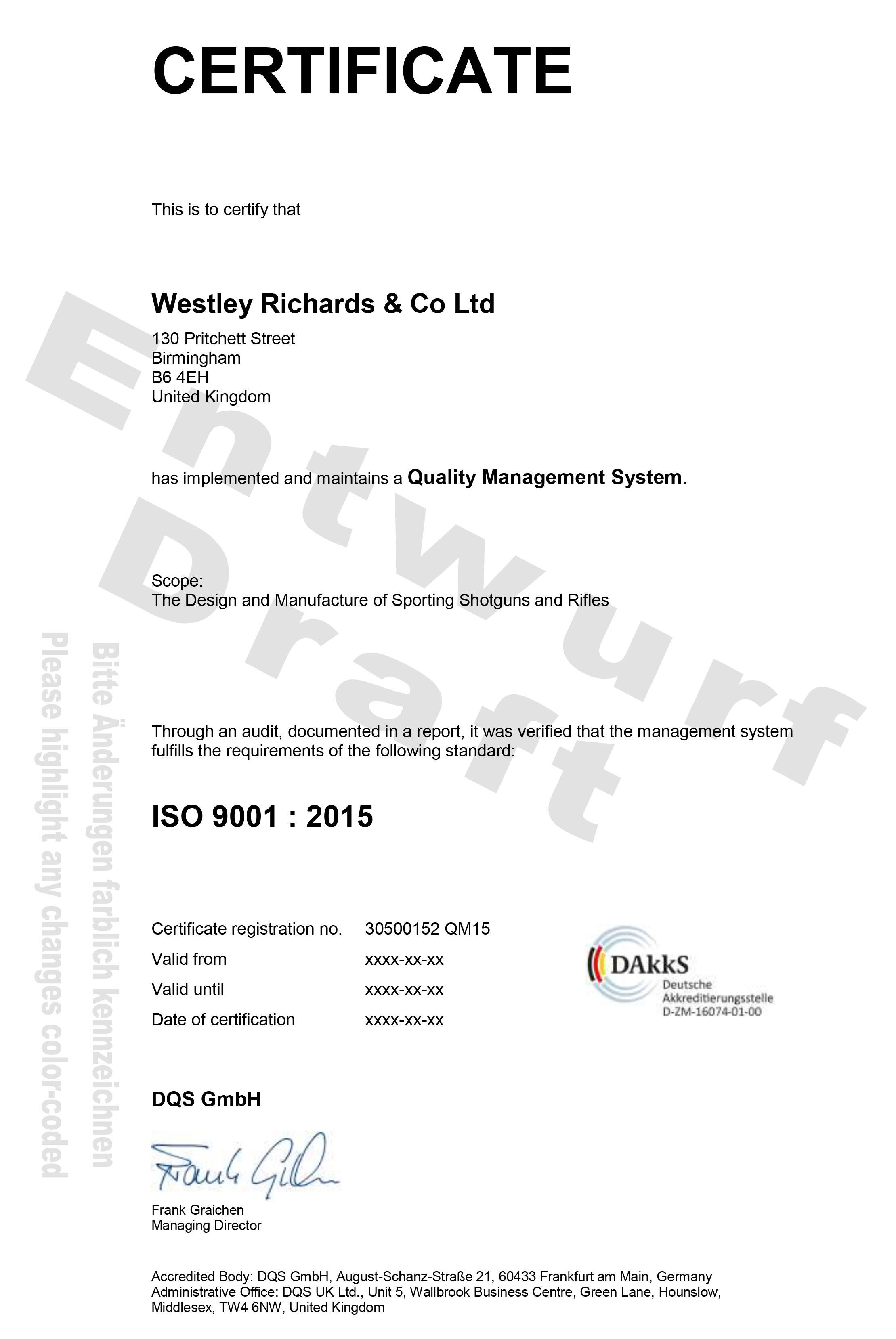 Westley Richards draft ISO 9001:2015