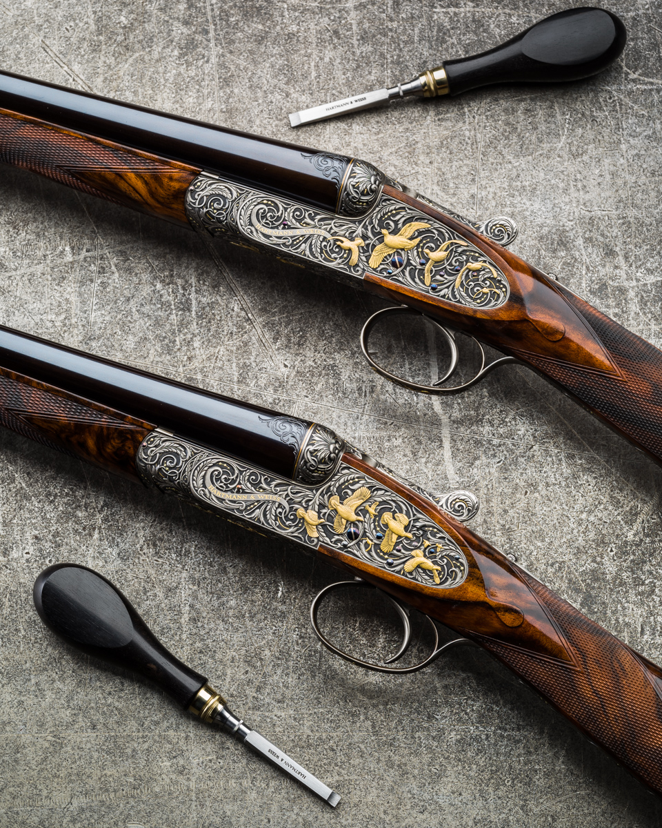 A Pair of Hartmann & Weiss 20g Sidelocks engraved by A.M & J.P Brown