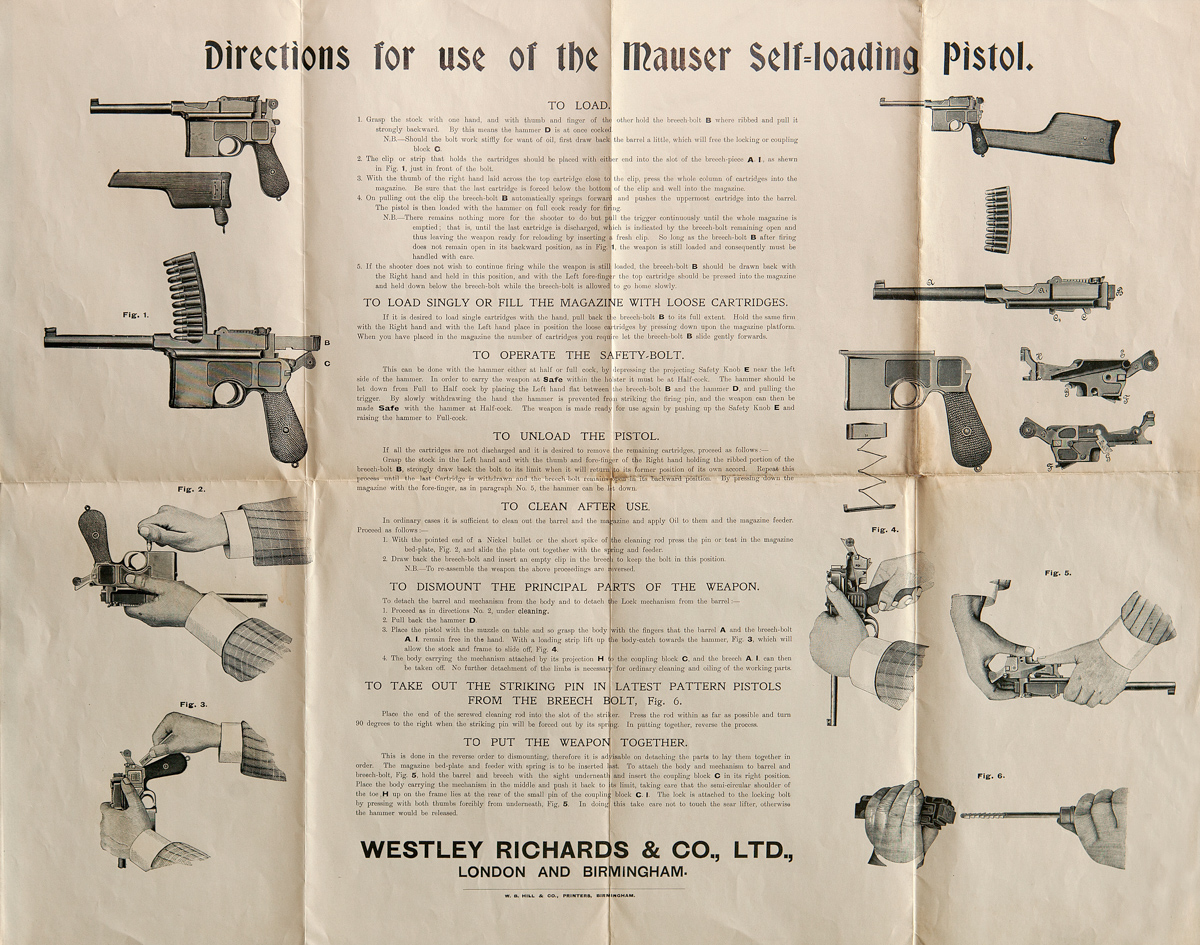 Directions for use of the mauser self loading pistol