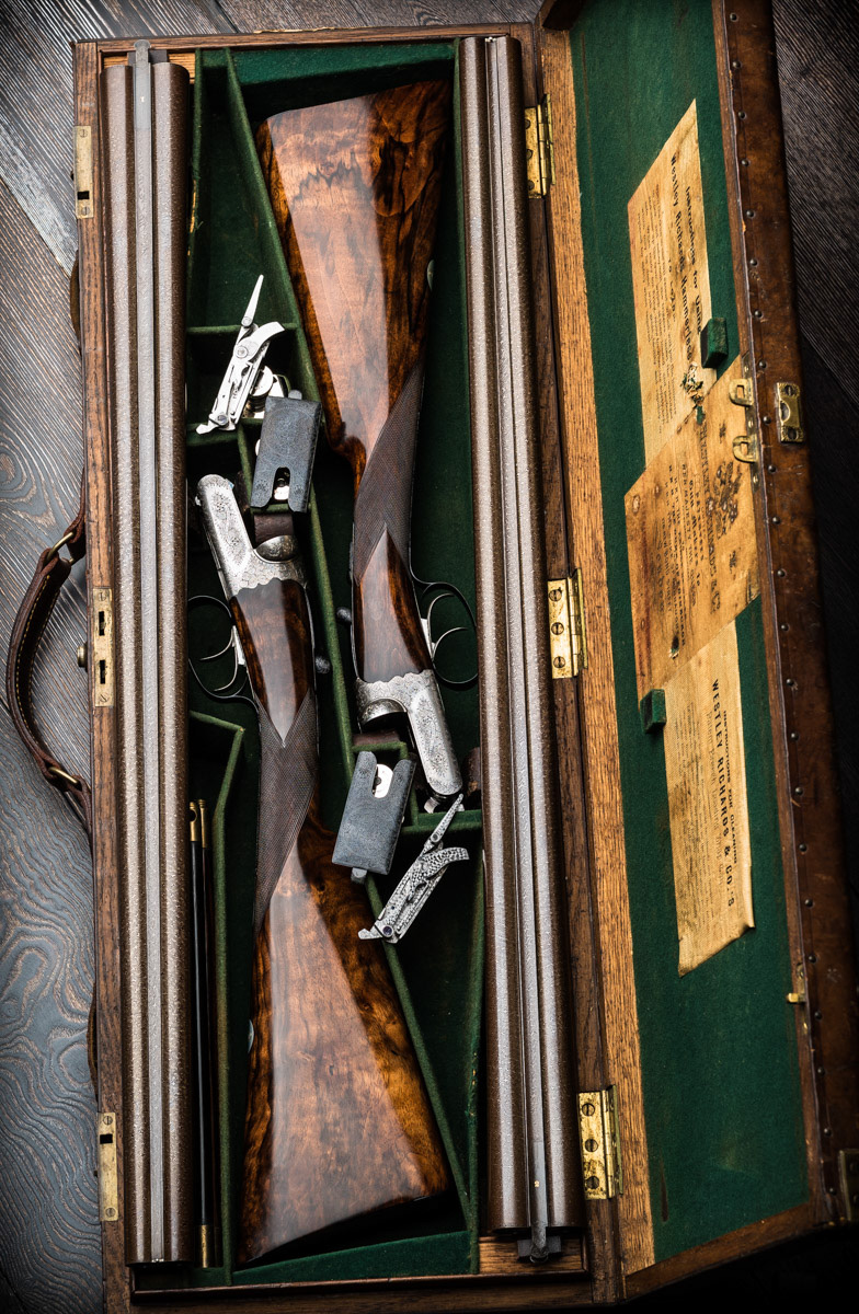 Cased pair Westley Richards 12g  Damascus Droplocks.