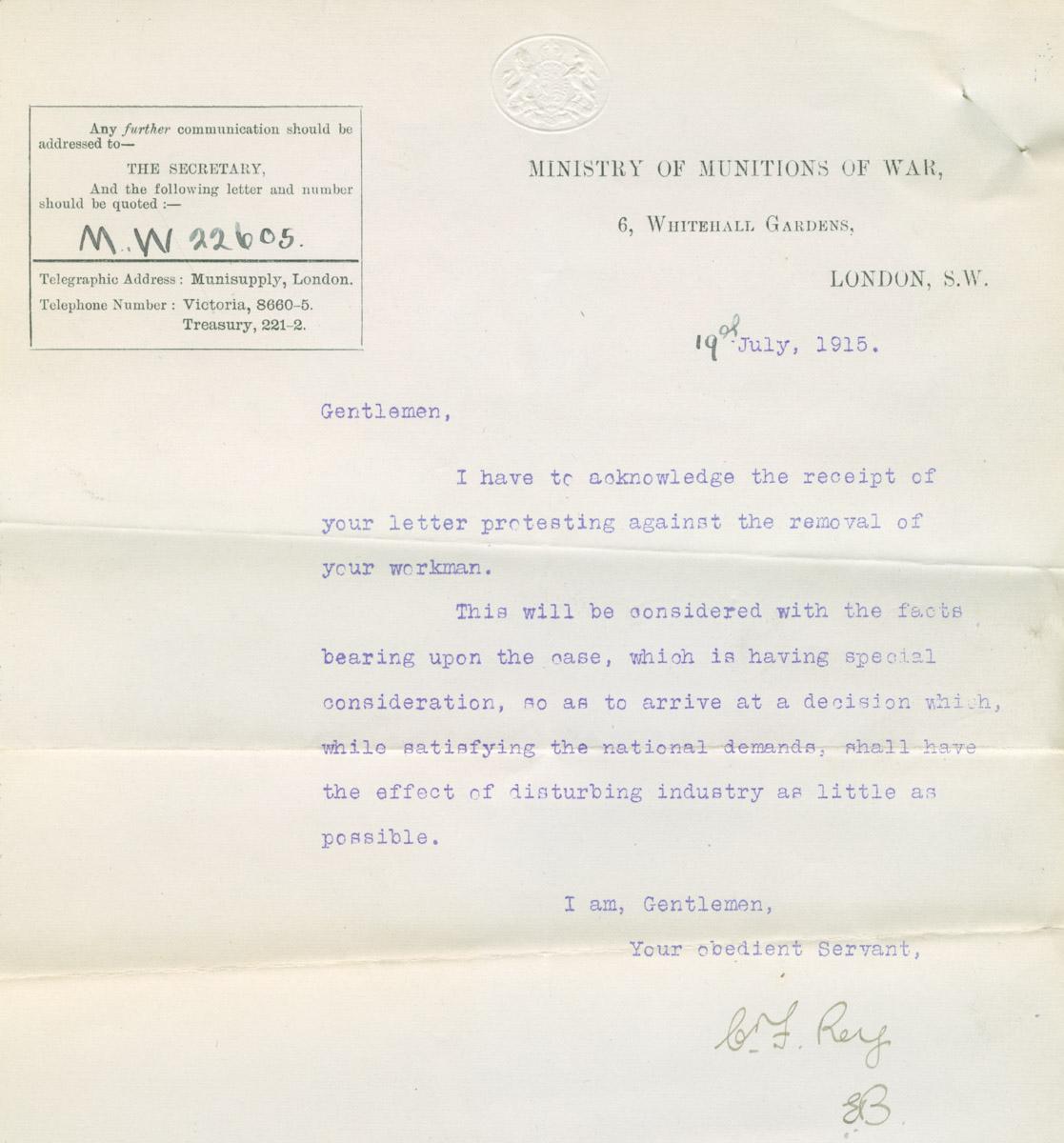 WR war letter