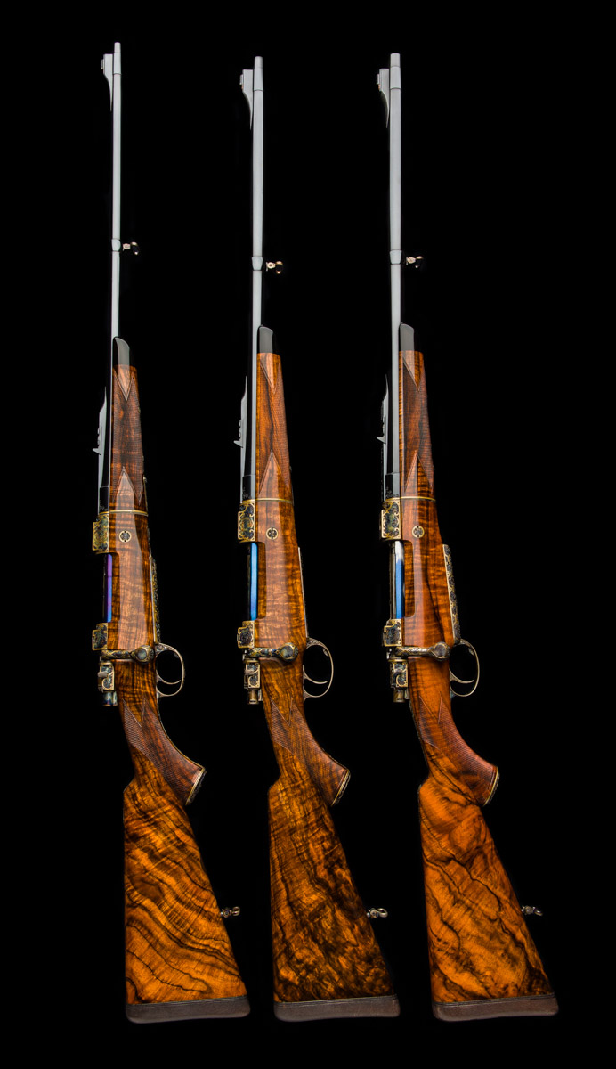 Fabulous Lovenberg Engraved Hartmann & Weiss Rifle Trio