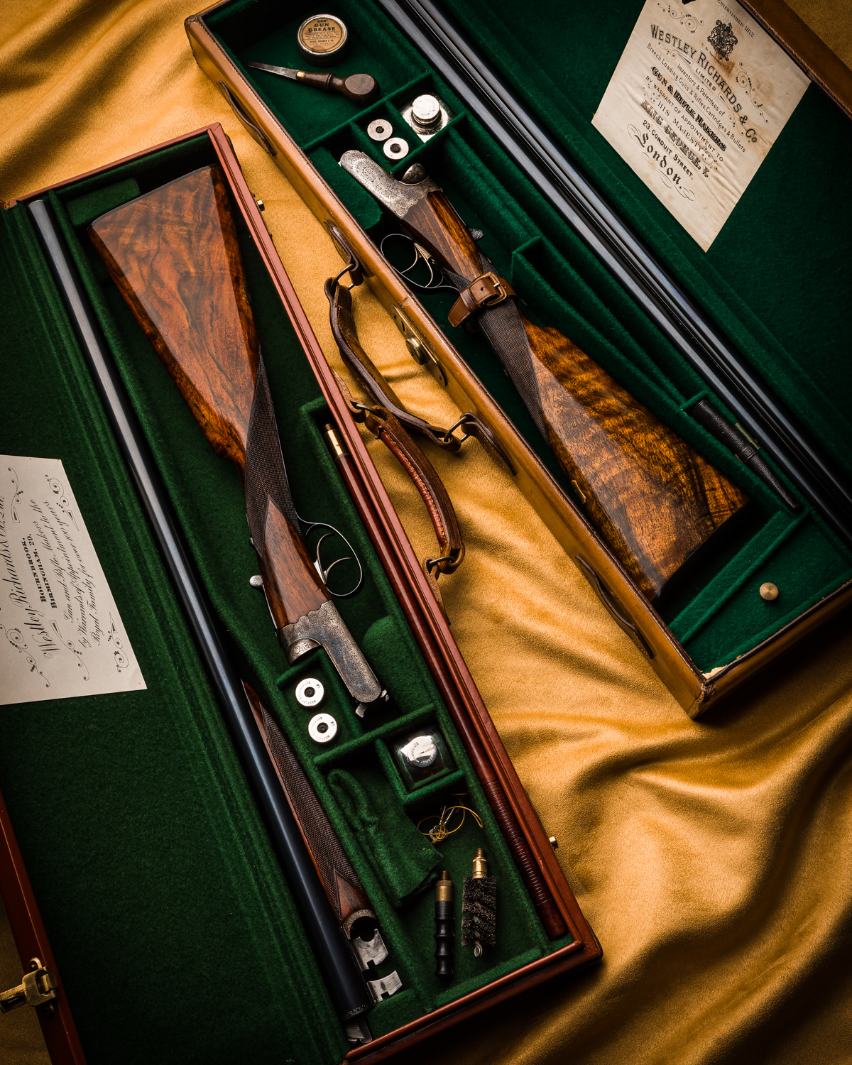 Composed Pair of Westley Richards 12g Lightweight Game Guns