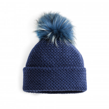 Cashmere & Fox Fur Knit Hat in Blue