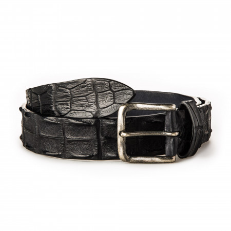 Men's Crocodile Leather Belt - Black