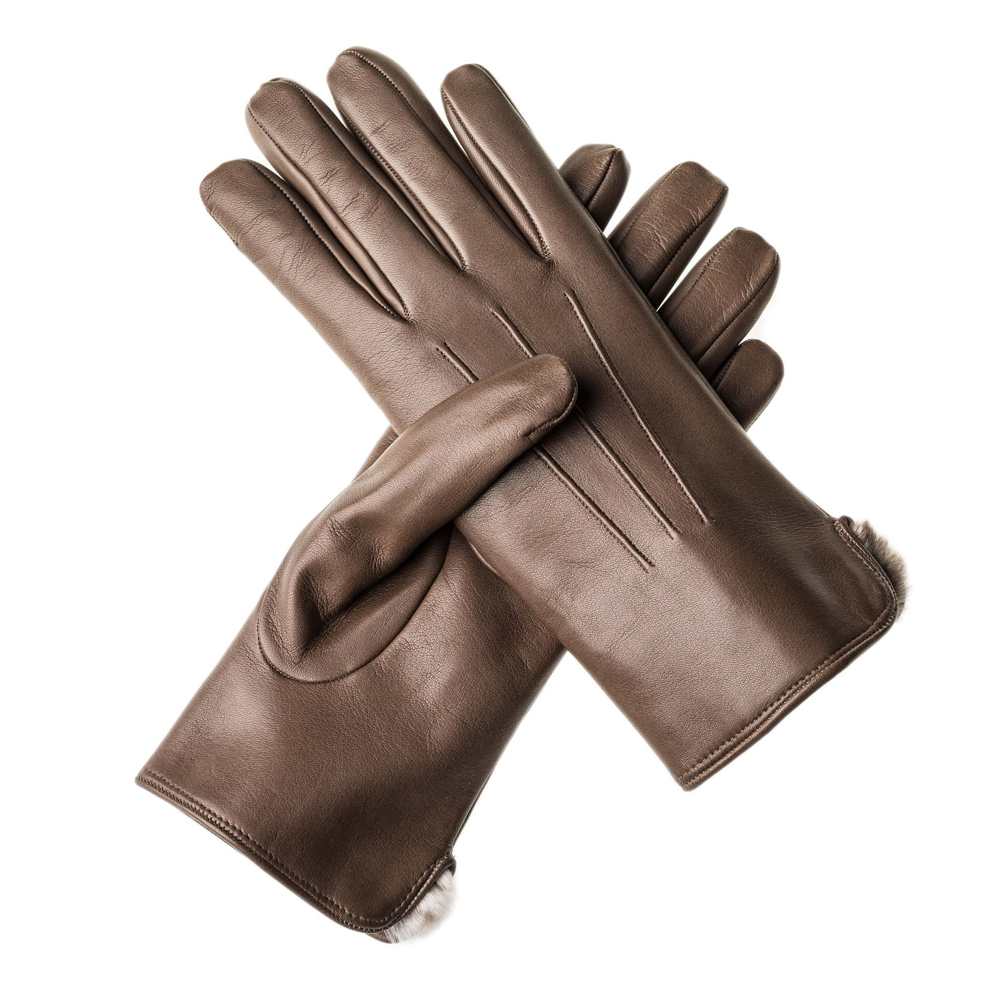 Ladies leather gloves large - Merola Ladies Leather Gloves With Rabbit Fur Lining
