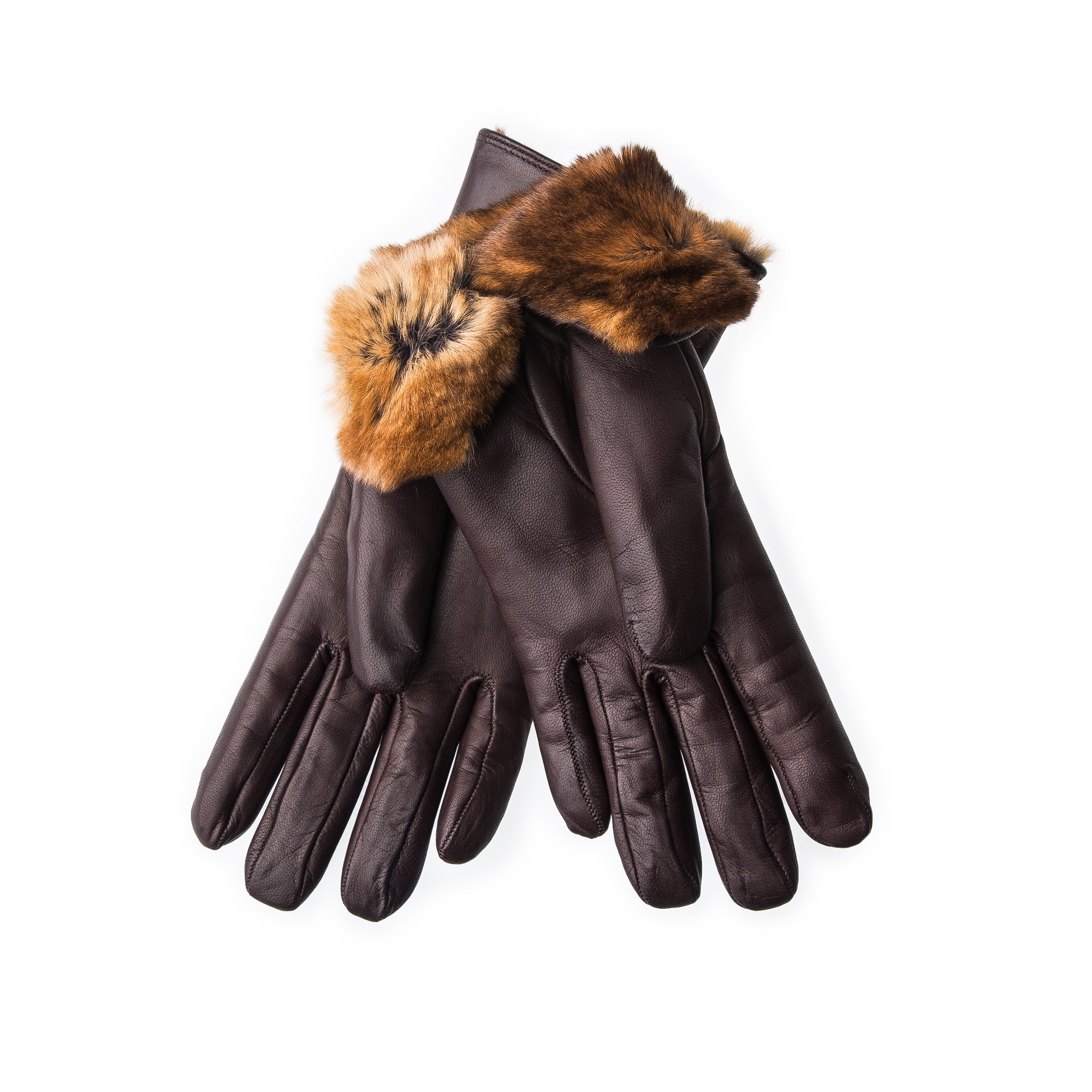 Ladies leather gloves large - Merola Ladies Leather Gloves With Rex Rabbit Fur Brown