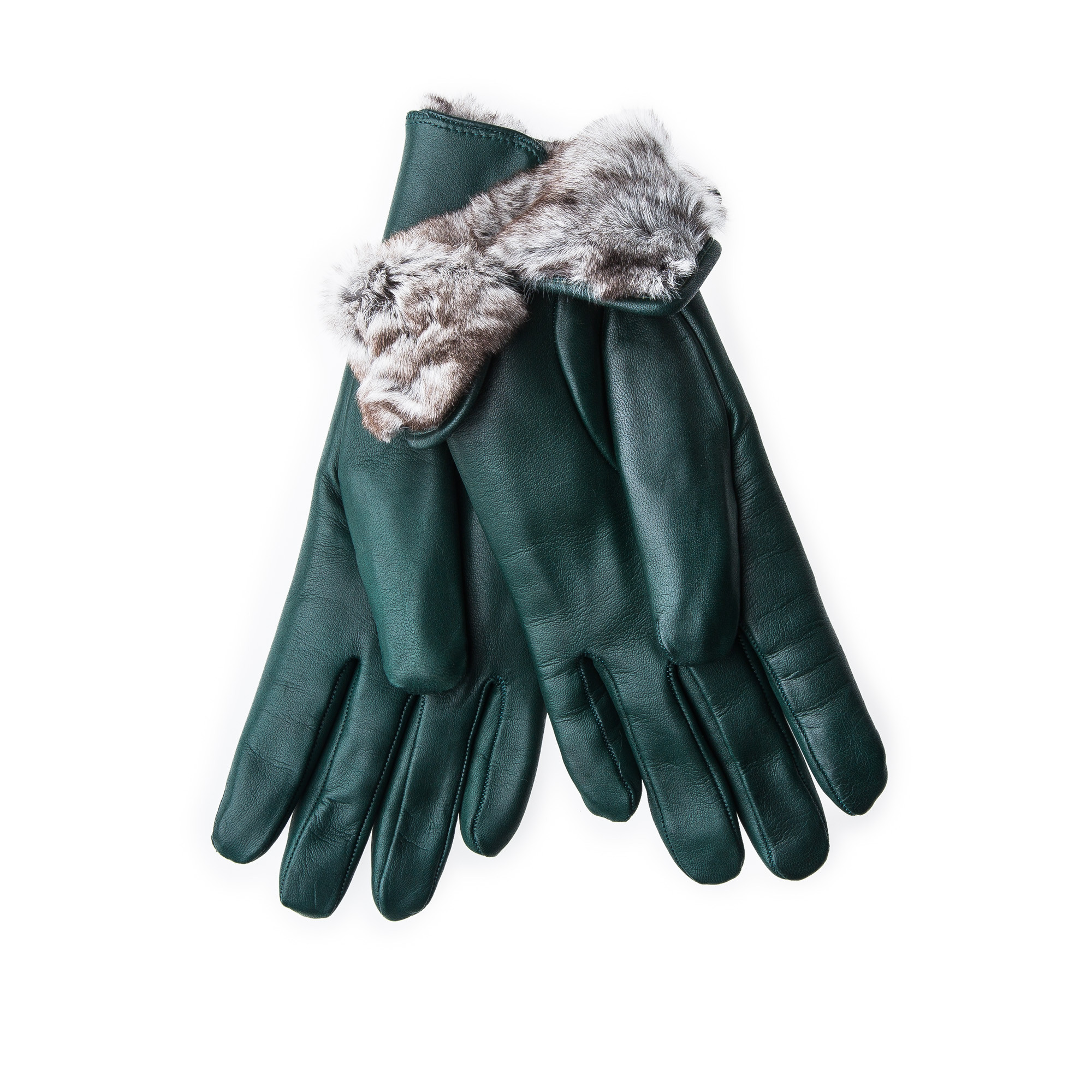 Ladies leather gloves large - Merola Ladies Leather Gloves With Rex Rabbit Fur Dark Green