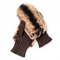 Westley Richards Merola Ladies Cashmere and Rabbit Fur Mittens in Brown