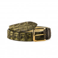 Post & Co. Men's Crocodile Leather Belt in Forest