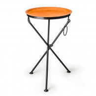 Sol & Luna Hand Stitched Leather Covered Folding Table in Natural