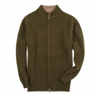 Westley Richards Bowland Zip Cardigan in Field Green with Clay