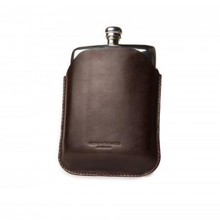 8oz Hip flask in Dark Tan