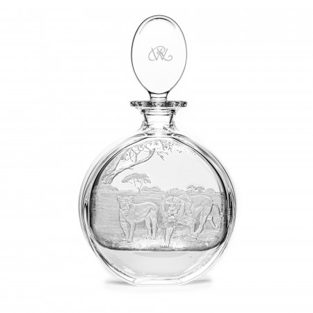 Hand Engraved Crystal Decanter - Lion