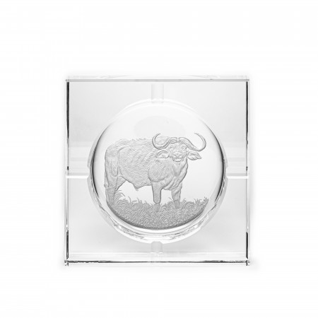 Hand Engraved Crystal Ashtray - Charging Buffalo