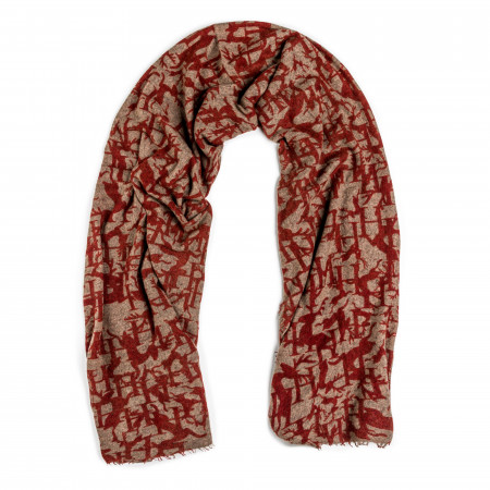Cashmere Stag Scarf in Rust