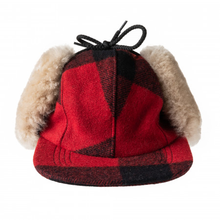 Double Mackinaw Cap in Red & Black Check